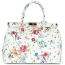 BELLI The Bag XL Ledertasche weiß Blumenmuster