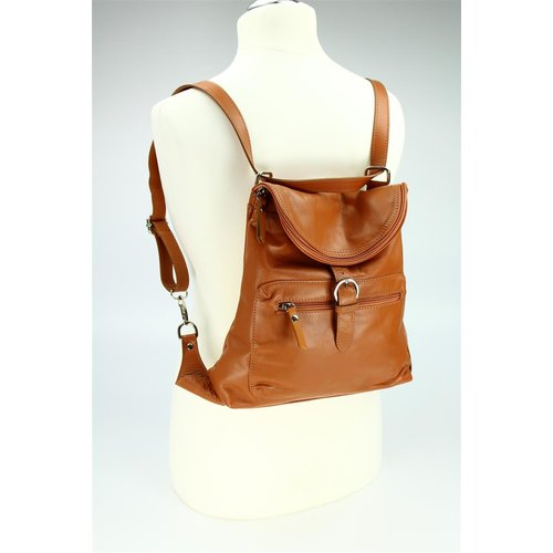 BELLI Nappa Leder Rucksack Backpack London cognac braun