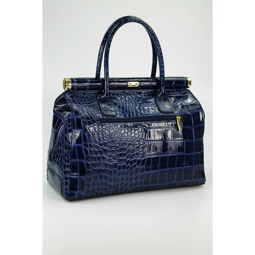 BELLI The Bag XL Ledertasche dunkelblau lack kroko