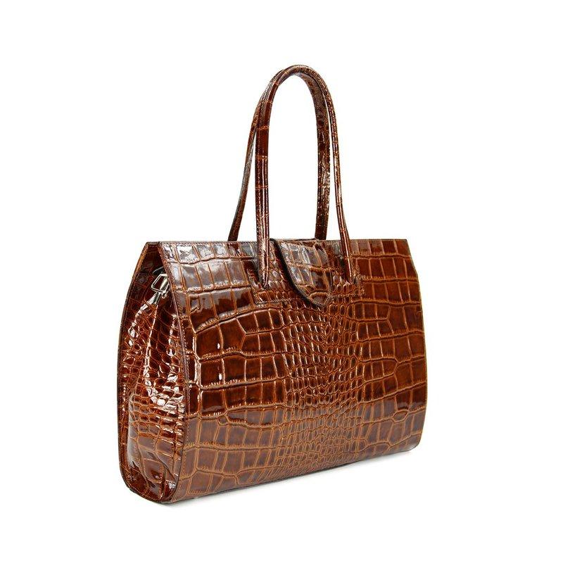 belli design bag c leder handtasche cognac lack kroko b. Black Bedroom Furniture Sets. Home Design Ideas