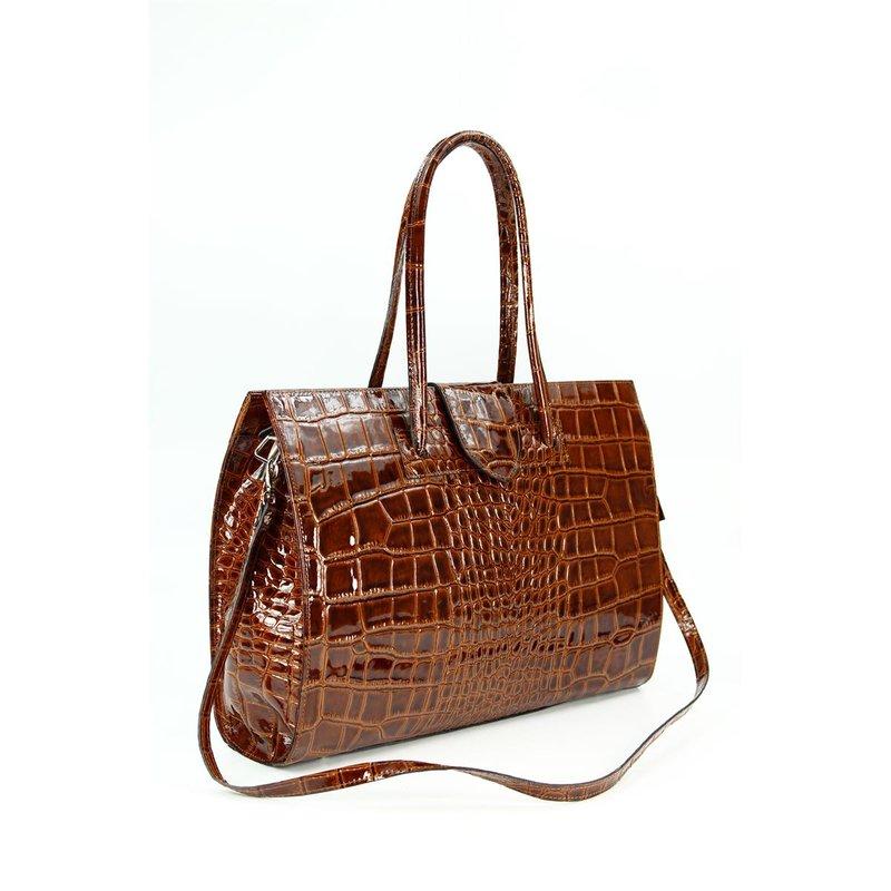belli design bag c leder handtasche cognac lack krok. Black Bedroom Furniture Sets. Home Design Ideas