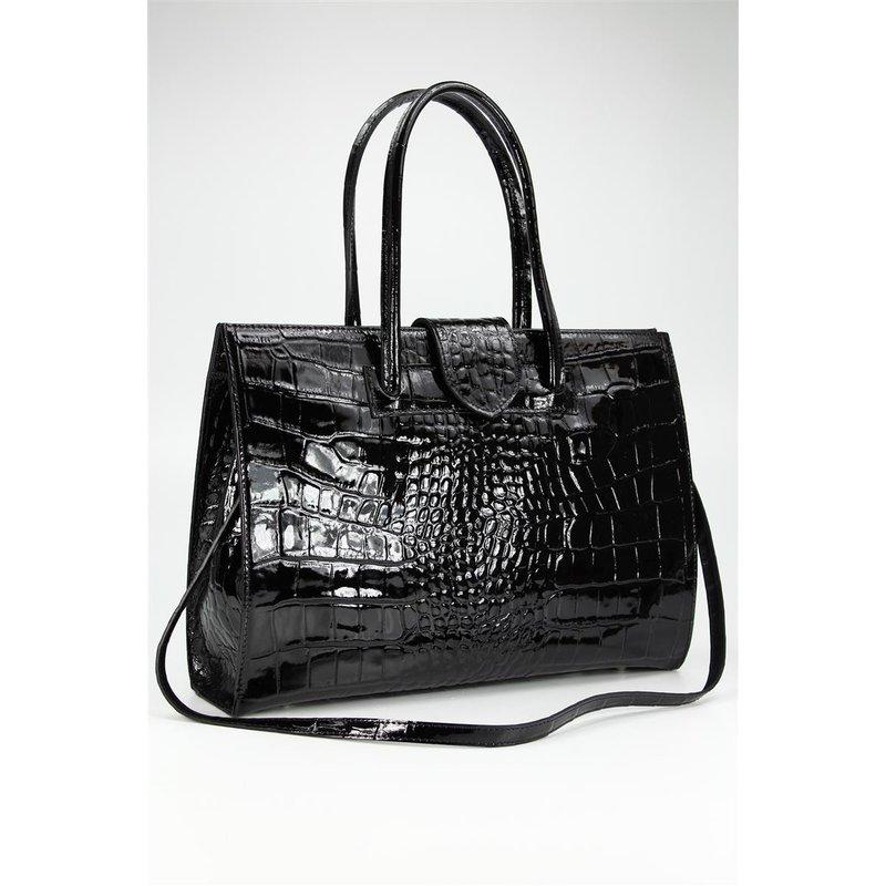 belli design bag c leder handtasche schwarz lack kro. Black Bedroom Furniture Sets. Home Design Ideas