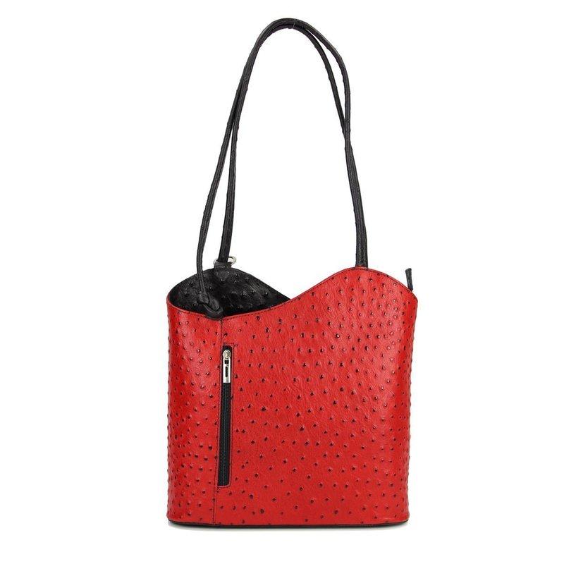 belli leder tasche rucksack rot schwarz strau belli shop i. Black Bedroom Furniture Sets. Home Design Ideas