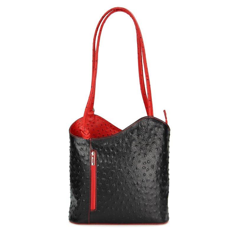 belli backpack leder tasche rucksack schwarz rot strauss. Black Bedroom Furniture Sets. Home Design Ideas