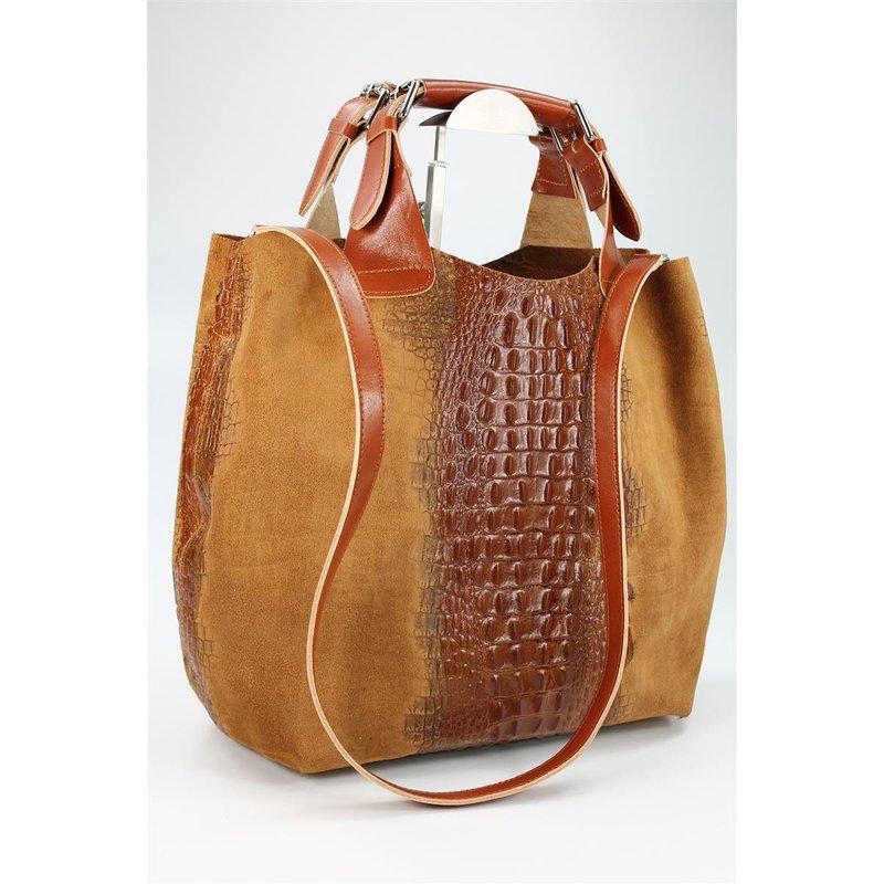 belli leder handtasche leder kroko mix cognac belli shop ihr. Black Bedroom Furniture Sets. Home Design Ideas