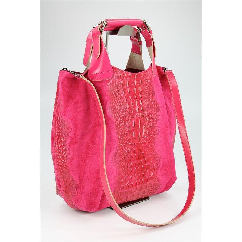 belli leder handtasche leder kroko mix pink belli shop. Black Bedroom Furniture Sets. Home Design Ideas