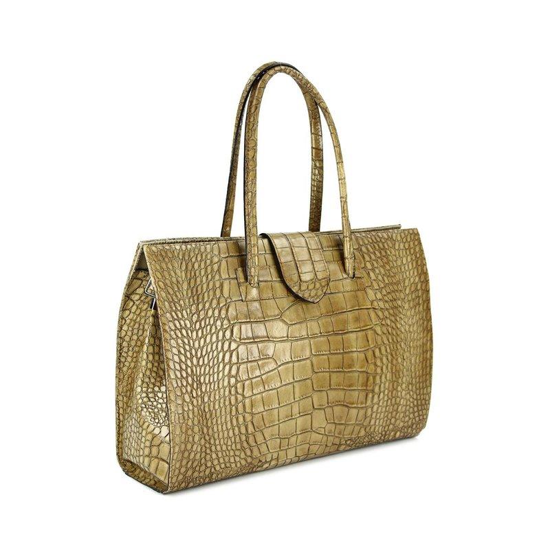 belli design bag c leder handtasche taupe kroko b. Black Bedroom Furniture Sets. Home Design Ideas