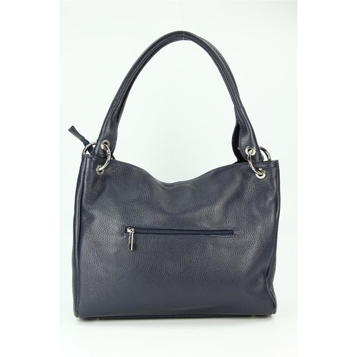 BELLI Leder Schultertasche Shopper Lilly blau