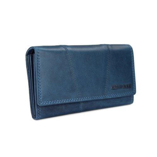 39ac31b332b0b ... Hill Burry Vintage Leder Damen Geldbörse Portemonnaie blau 777023 ...