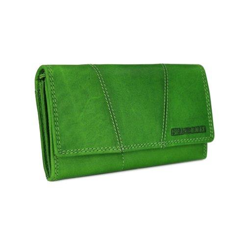 570a9795da74a ... Hill Burry Vintage Leder Damen Geldbörse Portemonnaie grün 777023 ...