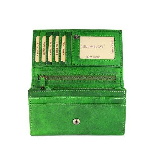 Hill Burry Vintage Leder Damen Geldbörse Portemonnaie grün Geldbeutel Damen