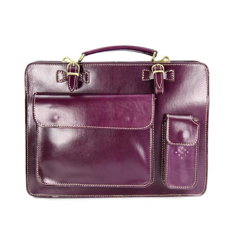 BELLI Design Bag Verona Leder Businesstasche lila