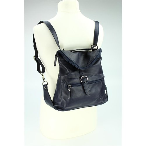 BELLI Nappa Leder Rucksack Backpack London blau