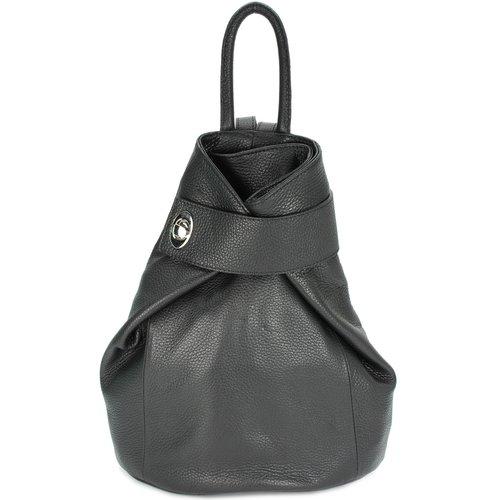 2 in 1 Damen Italy Rucksack Tasche Schwarz City Wickel Backpack Lederoptik